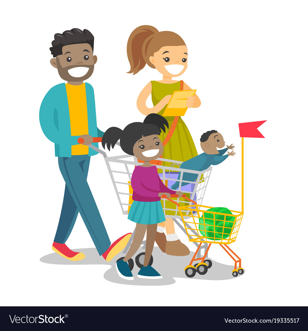 Young multicultural family with kids shopping vector image