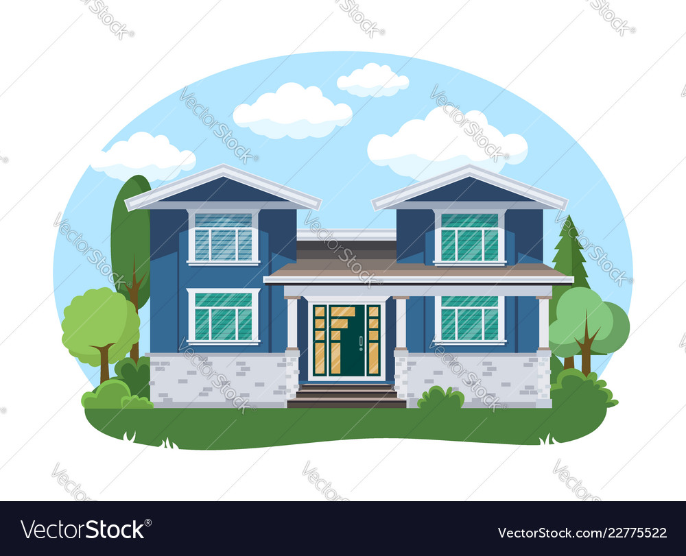 Cartoon house exterior with blue clouded sky front