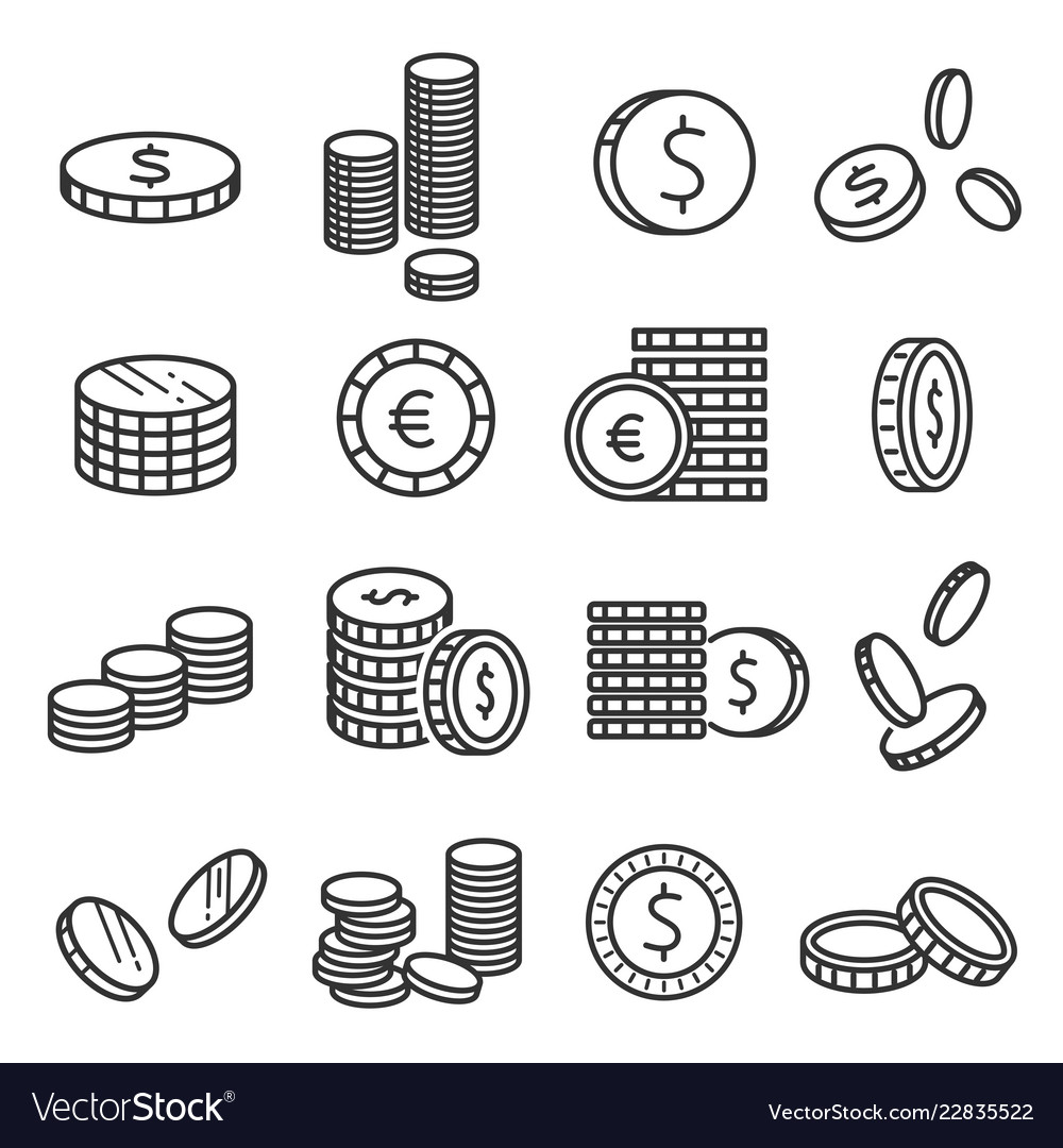 Coins metal money financial symbol in stacks