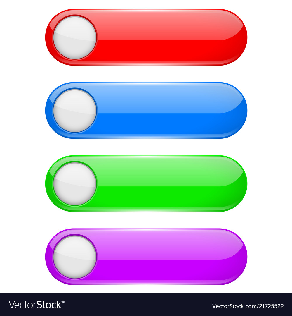 Colored oval buttons with white circles 3d glass