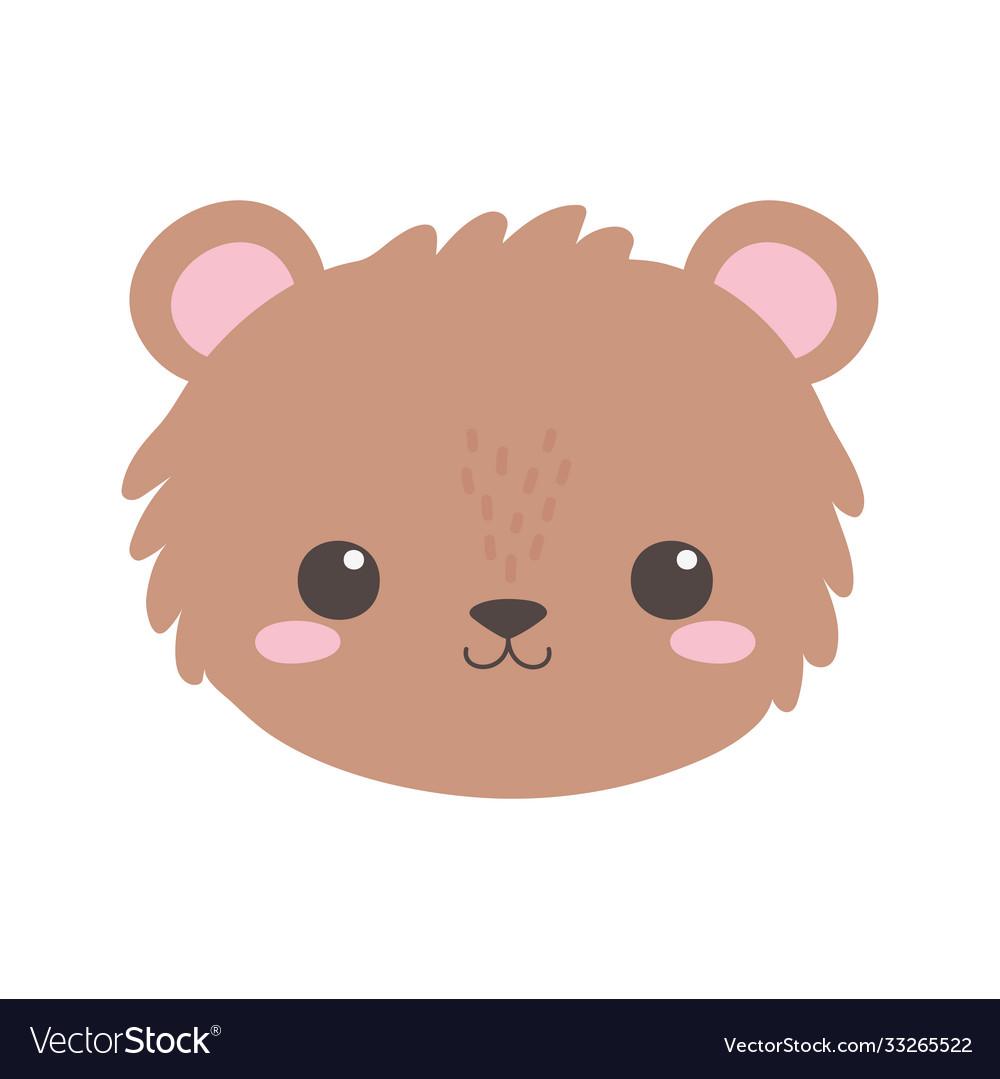 Cute bear little face animal cartoon isolated