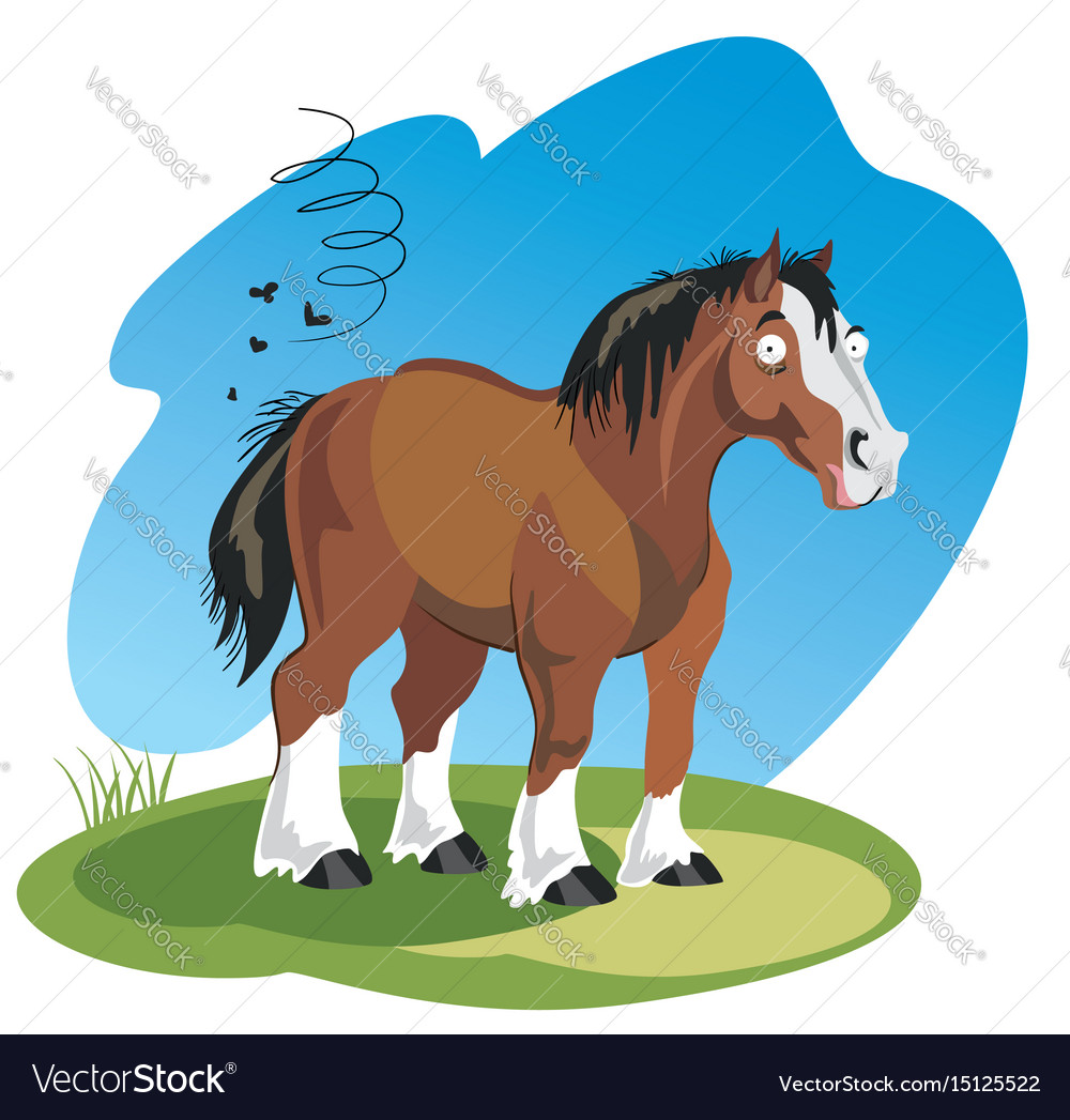 Funny cartoon horse