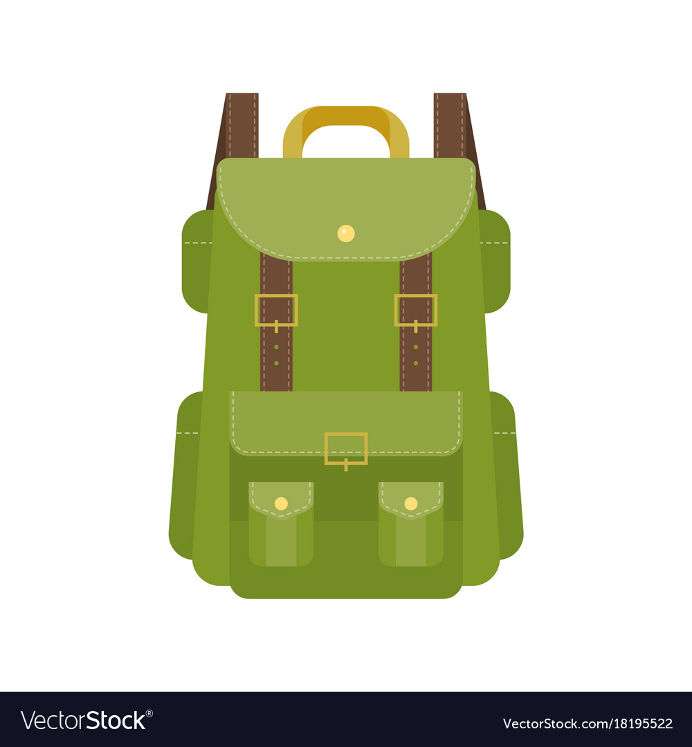 Green camping backpack