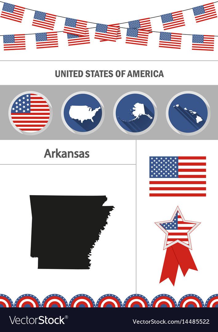 Map of arkansas set of flat design icons vector image