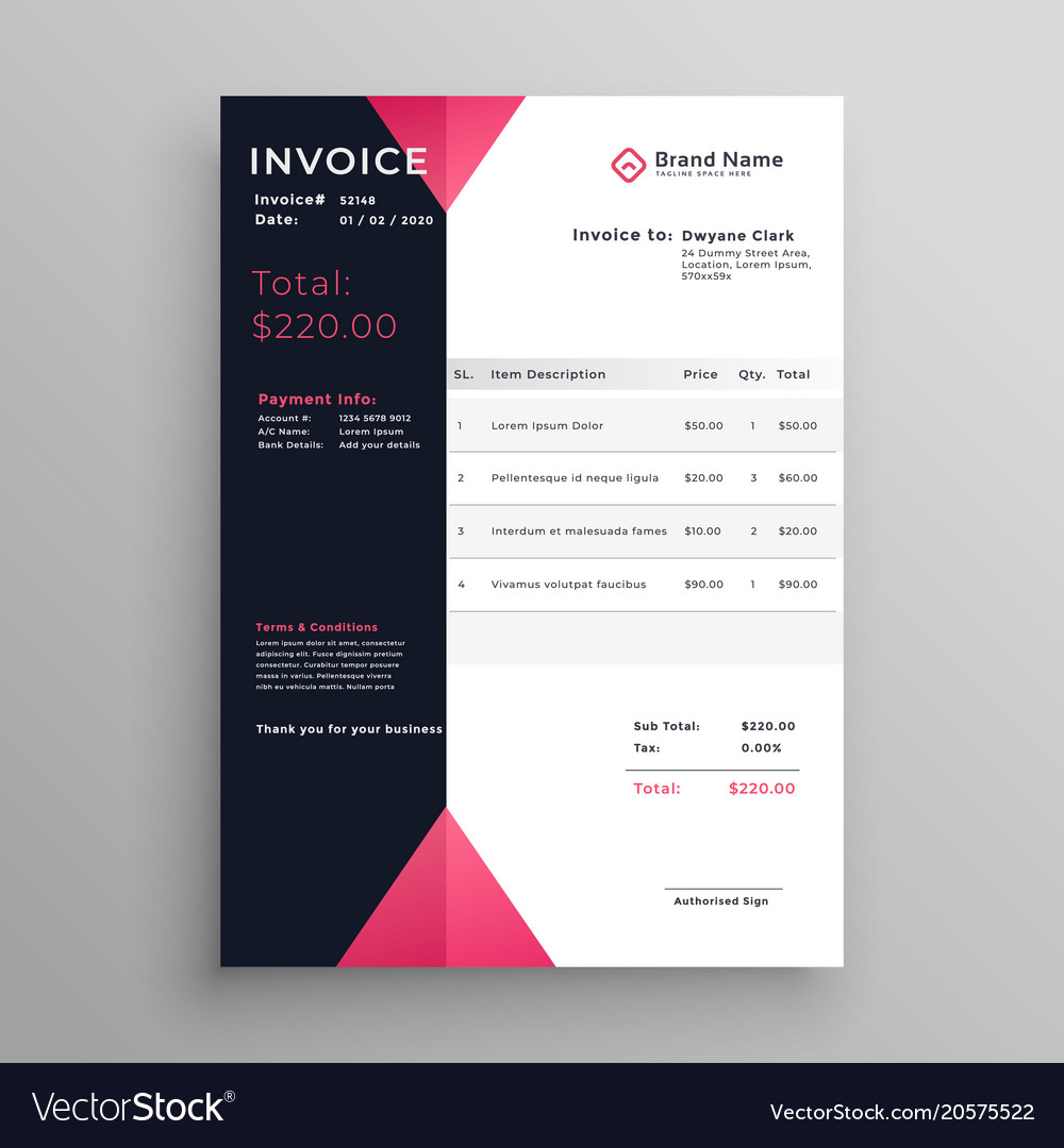 Modern Invoice Template Design In Pink Theme Vector Image