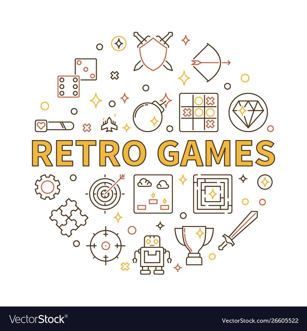 Retro games round in outline