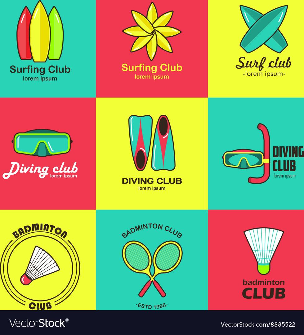 Summer activity set of flat logos