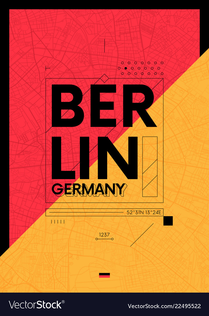 Typography graphics color poster with a map of
