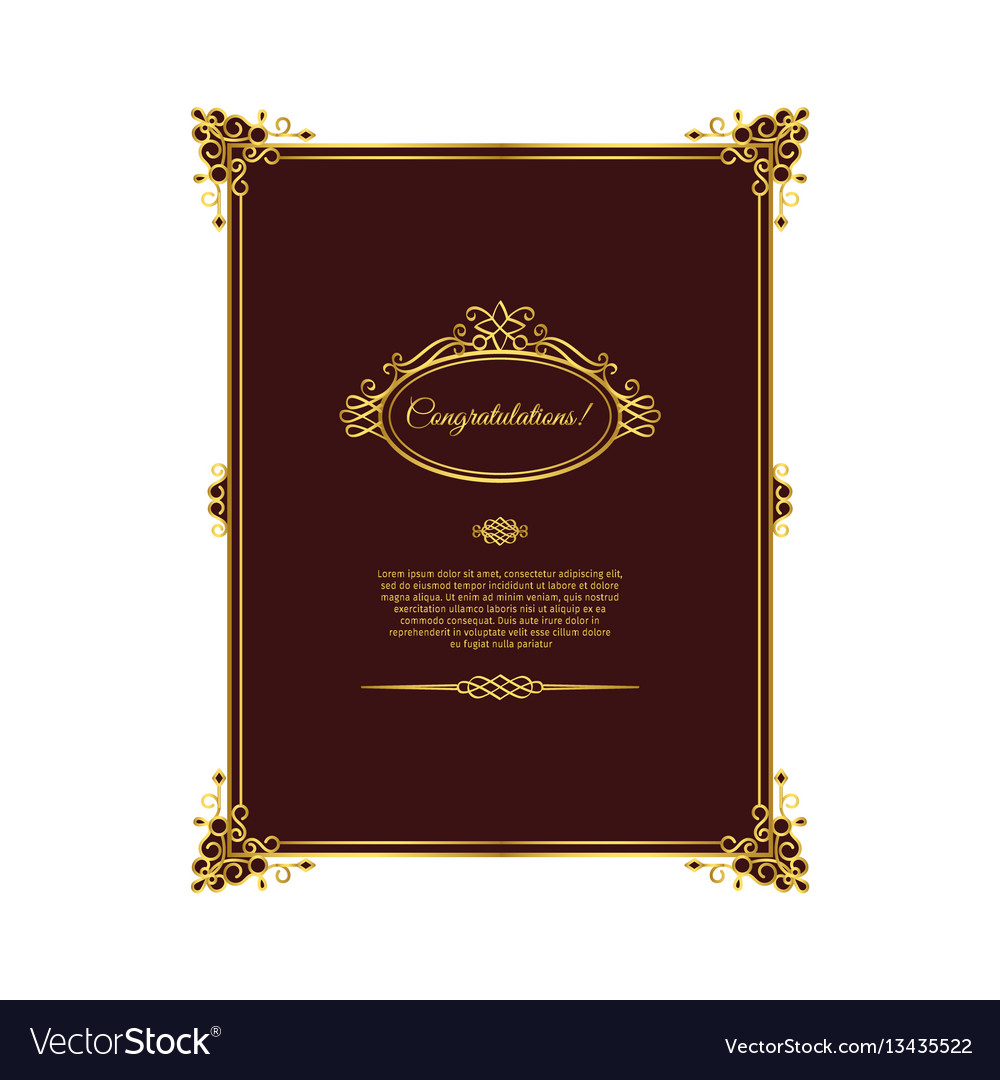 Vintage golden template on dark red
