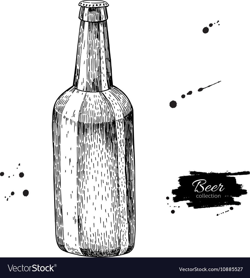 Beer glass bottle with splash Sketch style vector image