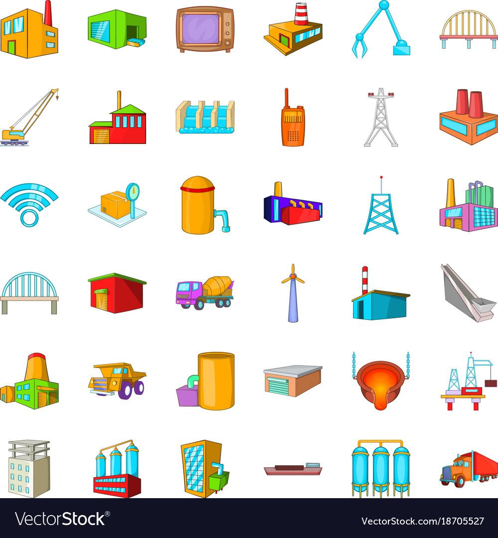 Big building icons set cartoon style