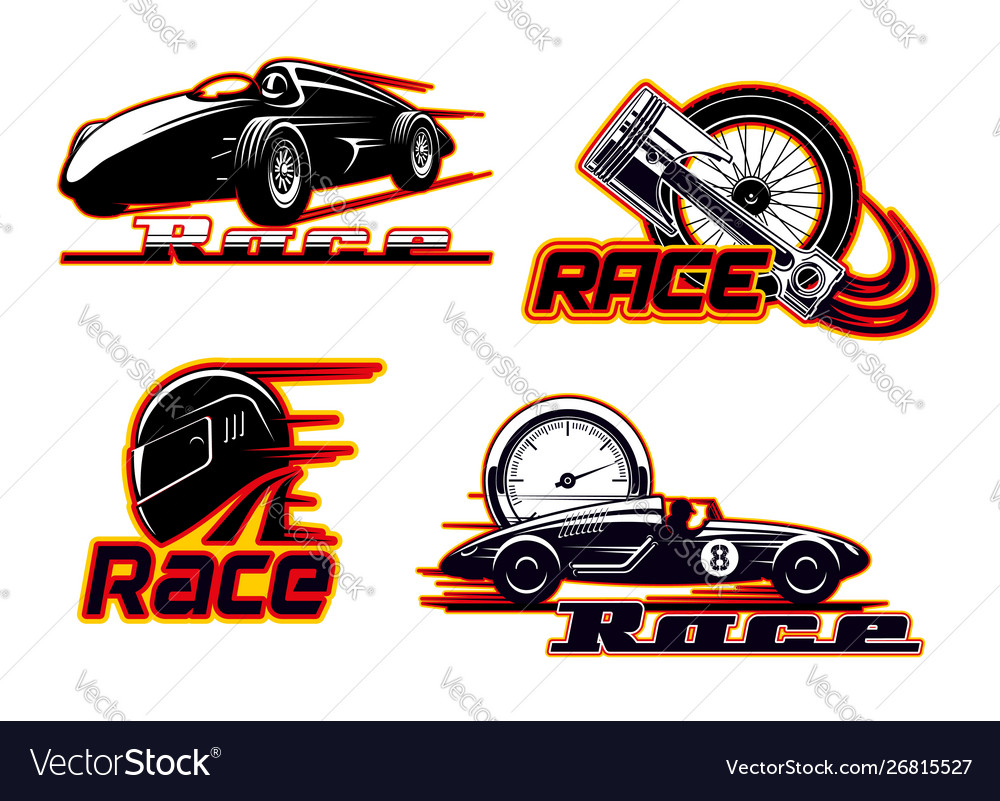 Car races motor speed racing auto engine icons