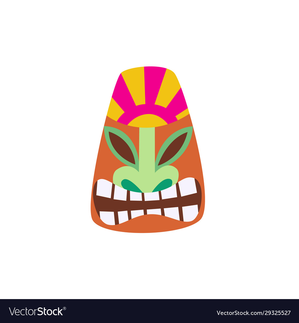 Cartoon Tiki Mask With Smiling Face Colorful Vector Image