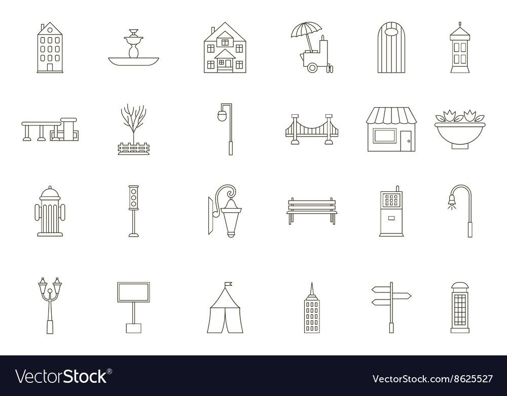 City elements black icons set