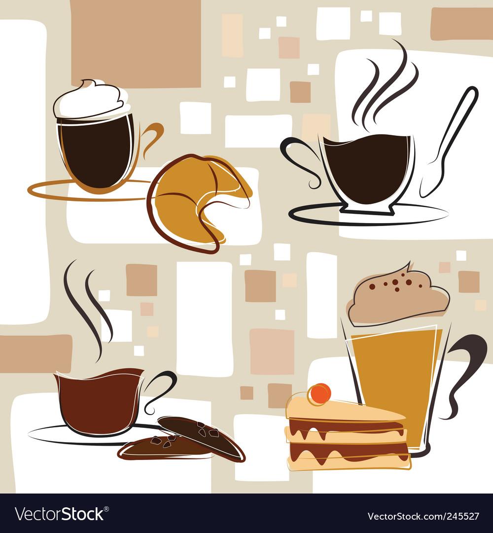 Coffee tea cake vector image