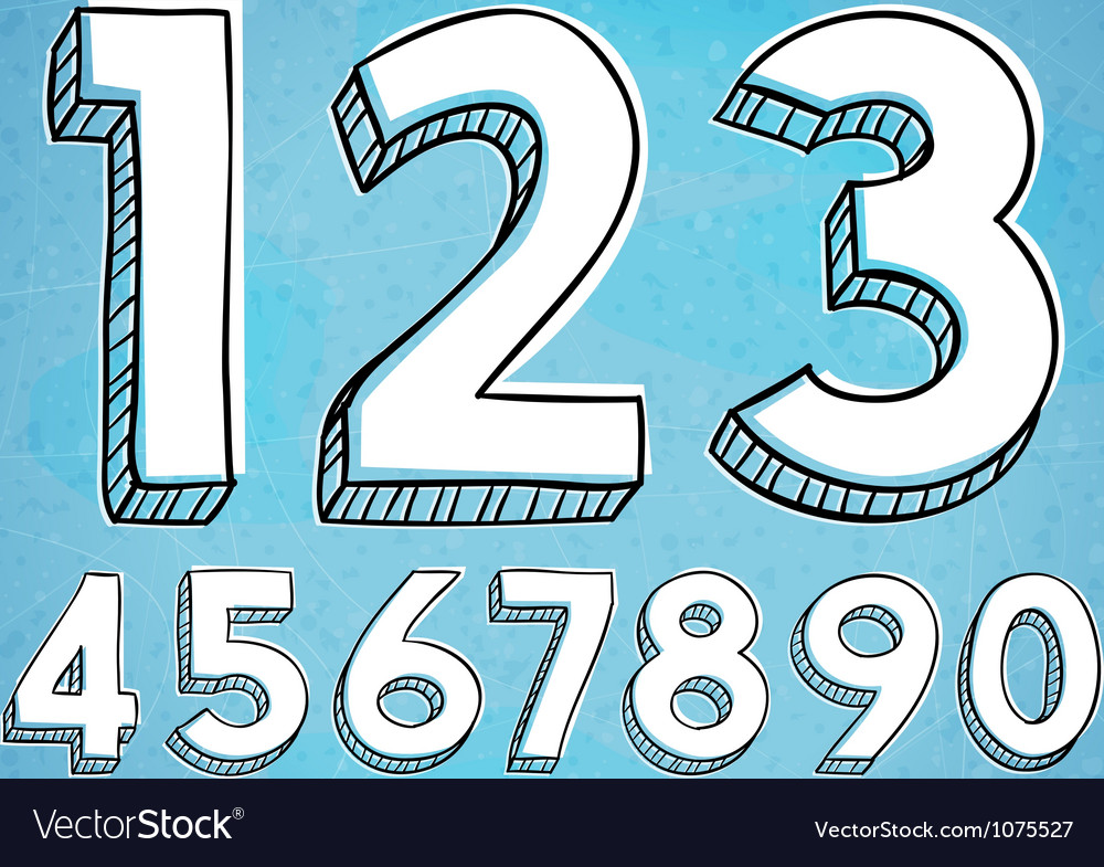 Doodle Style Hand Drawn Digits vector image
