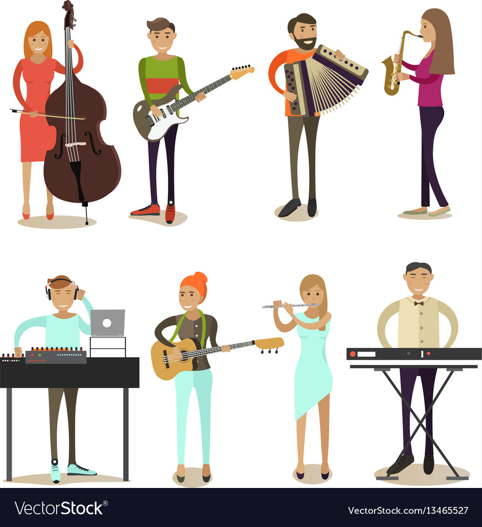 Flat icons set of musician characters