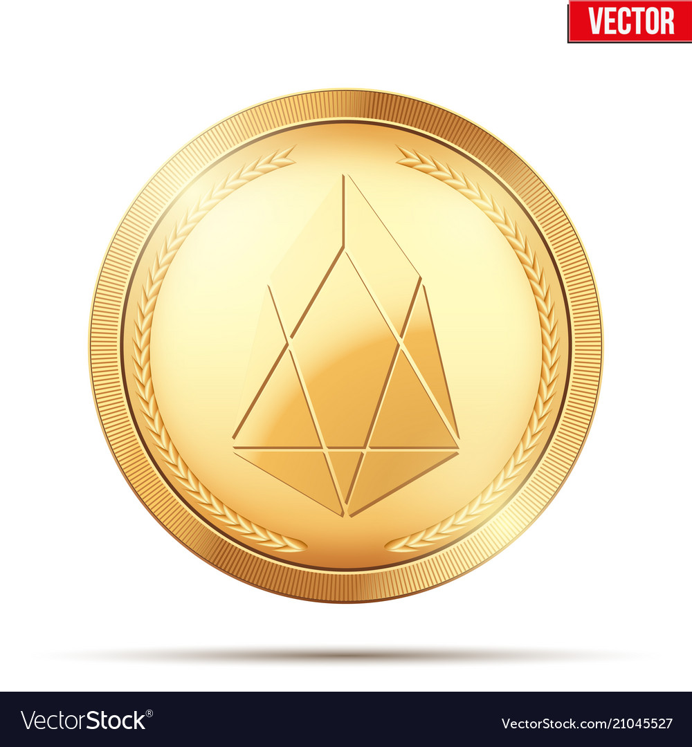Gold coin with eos cryptocurrency sign