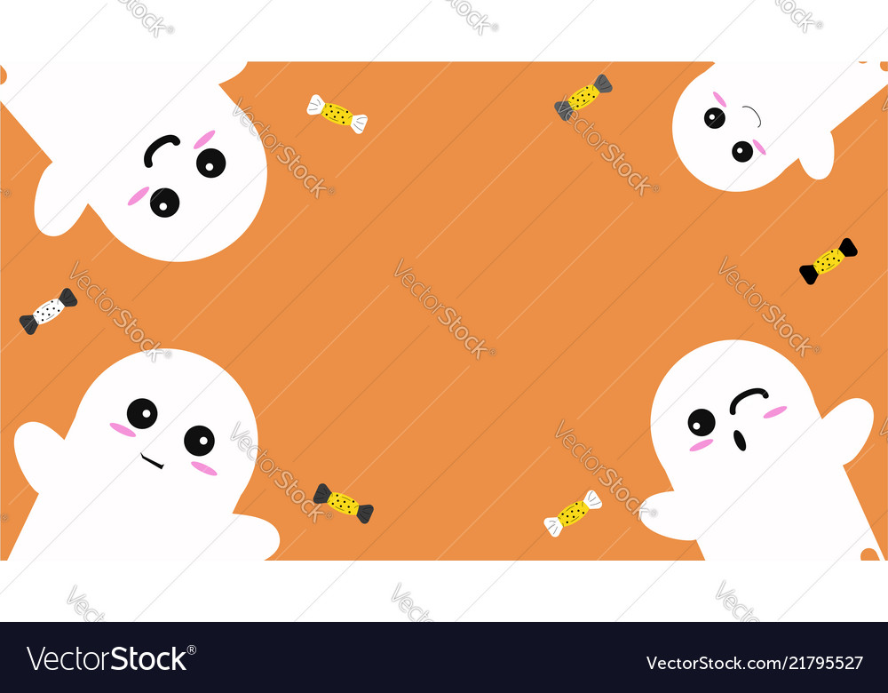 Happy halloween background with cute ghosts and