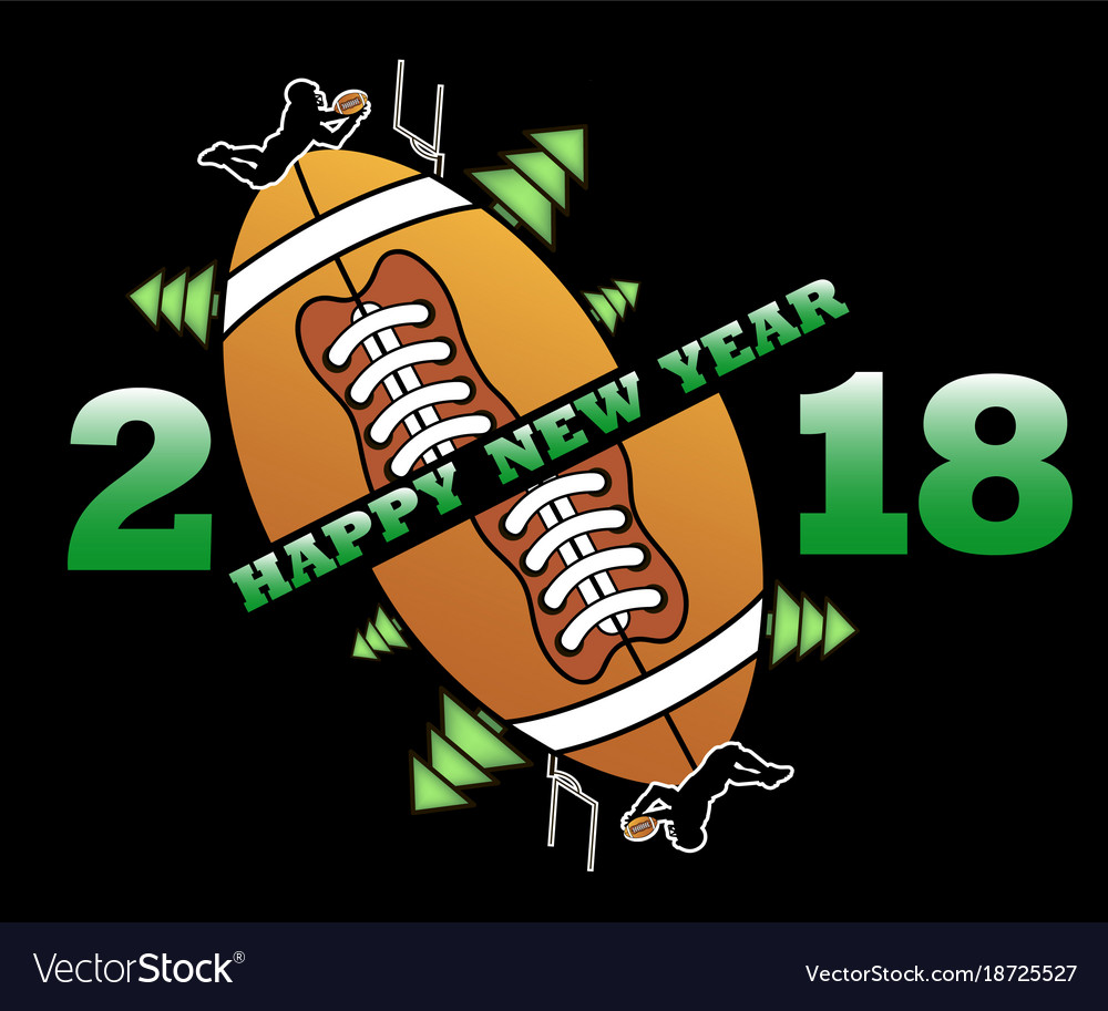 Happy New Year 2018 And Football Royalty Free Vector Image