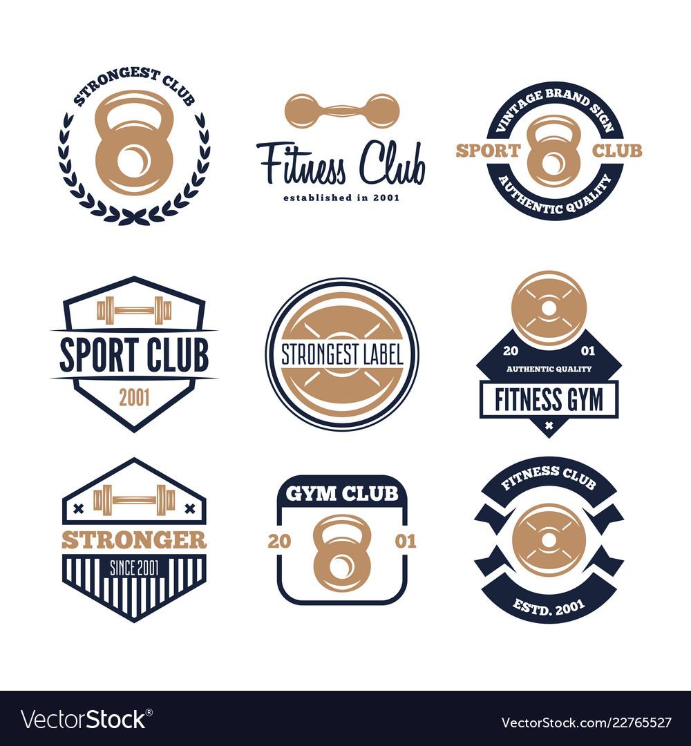 Set fitness emblems signs labels badges