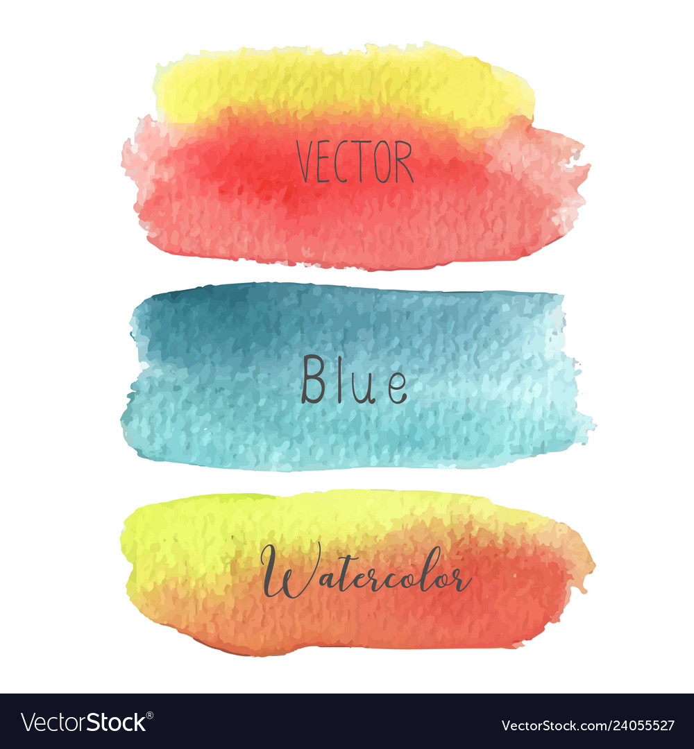 Set of colorful brush strokes watercolor