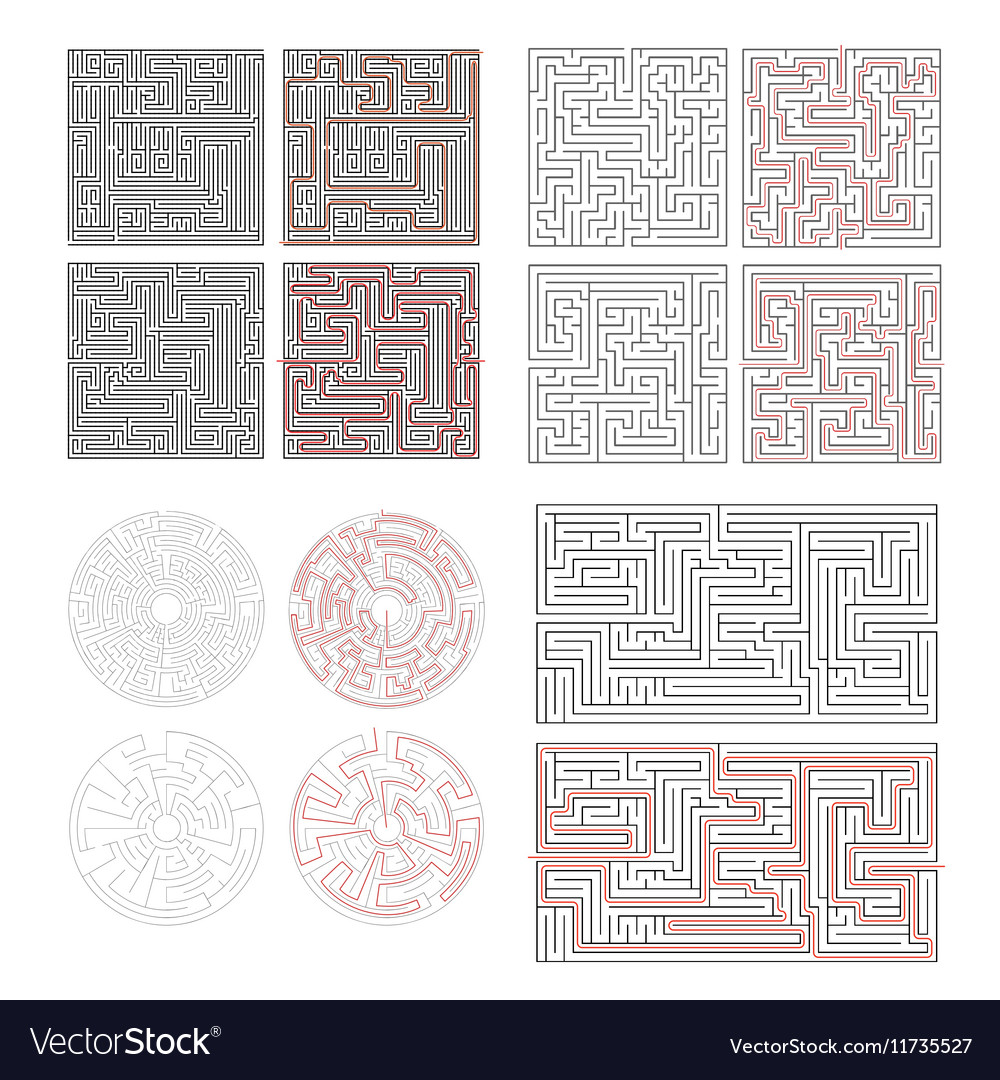 Set of different labyrinths with solutions on