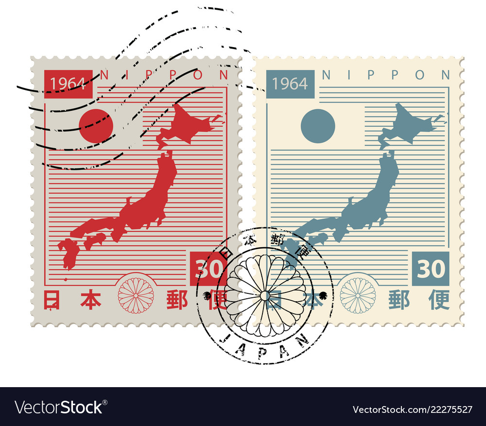 Set of old postage stamps with japan map and flag
