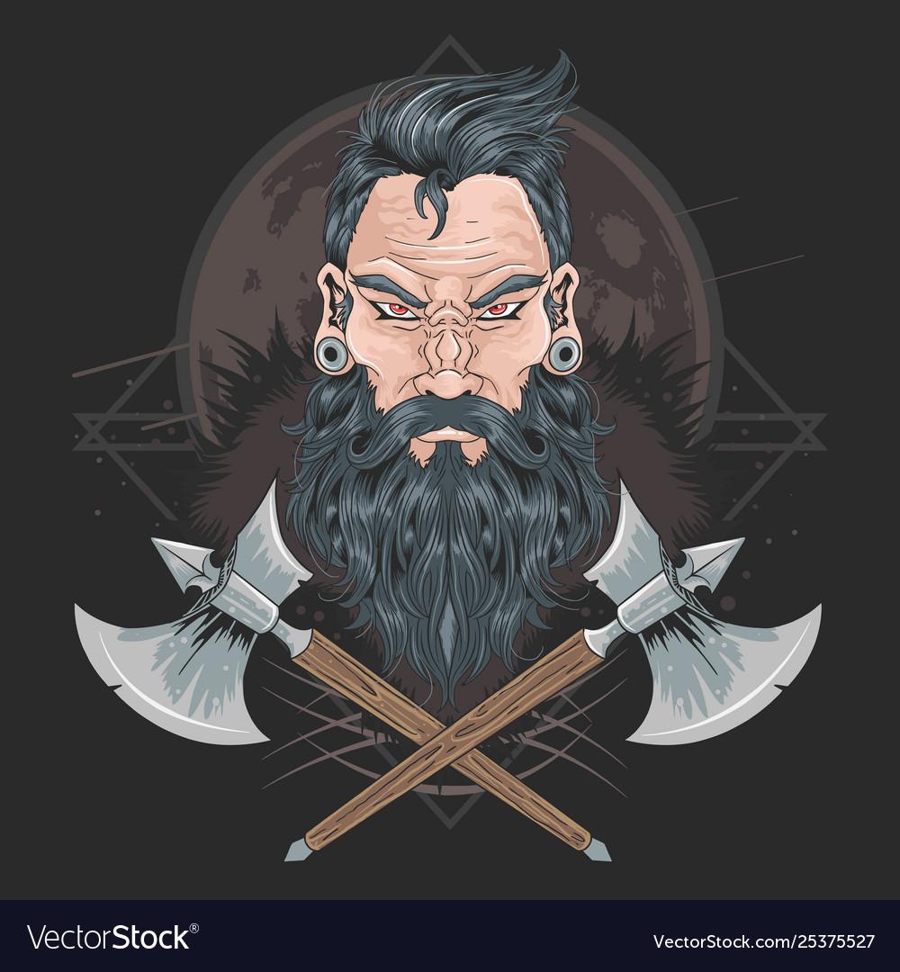 Warrior beard men piercing element