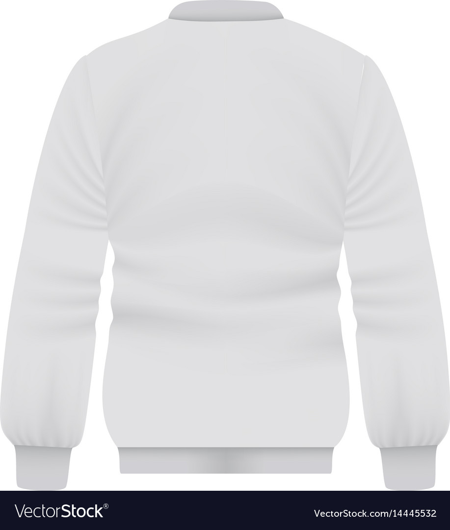Back of white baseball jacket mockup vector image