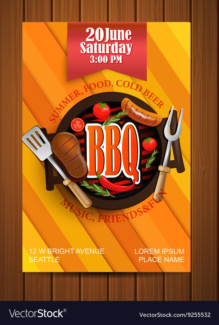 bbq grill flyer with elements royalty free vector image