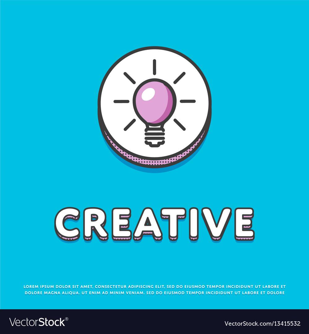 Creative colour icon with light bulb