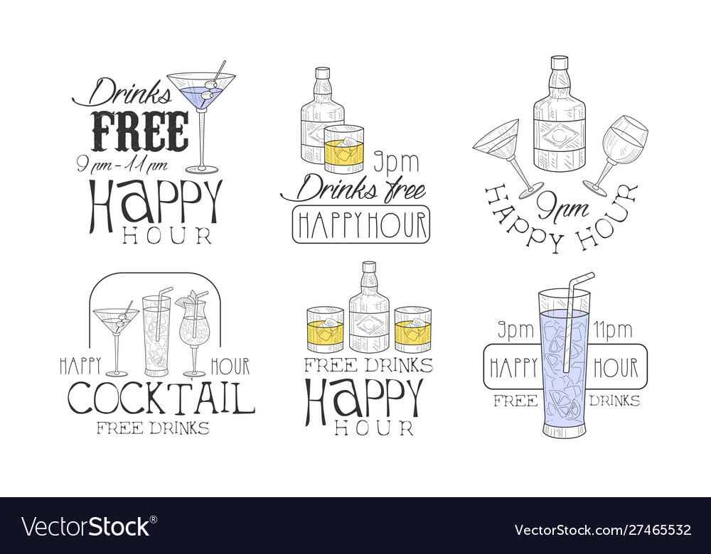 Drinks free hand drawn retro labels set happy
