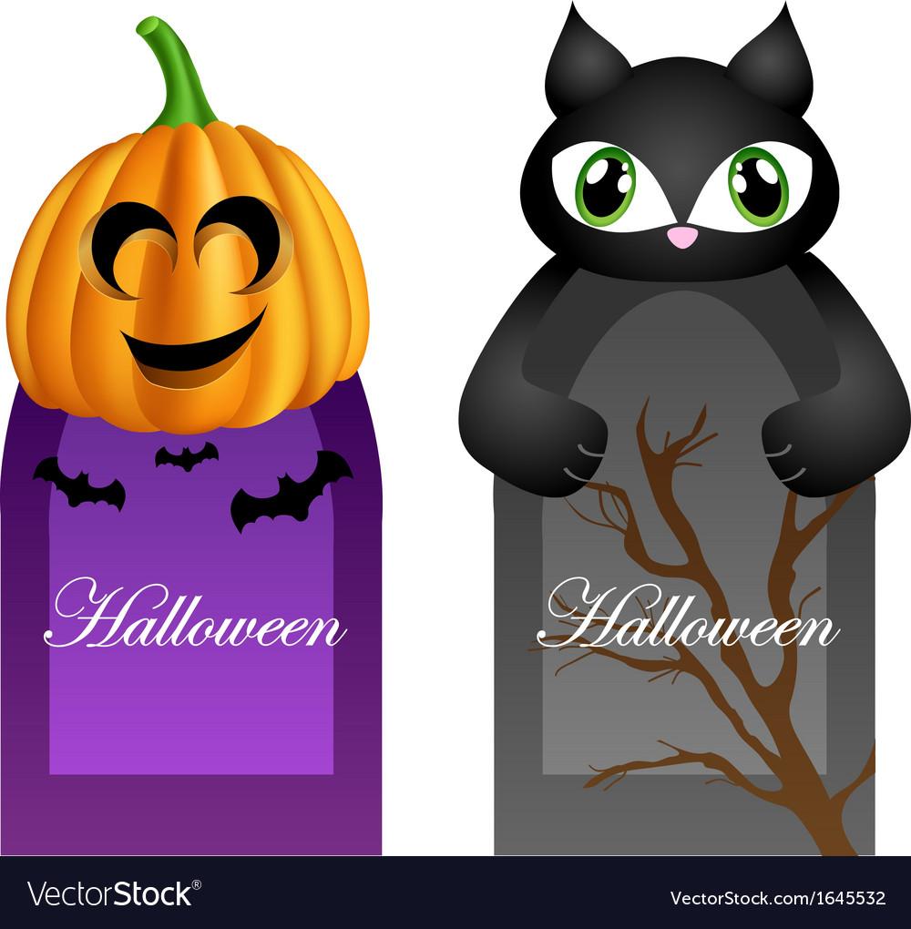 Halloween cards with cartoon pumpkin and cat