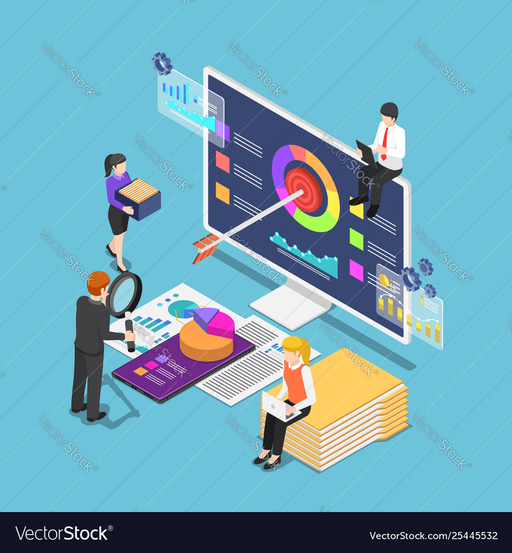 Isometric business people analyzing business