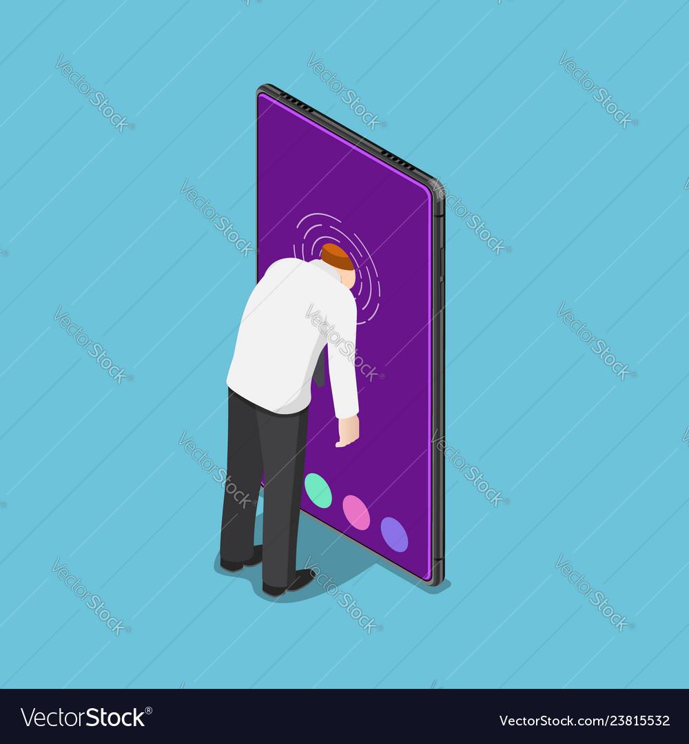 Isometric businessman push his head into