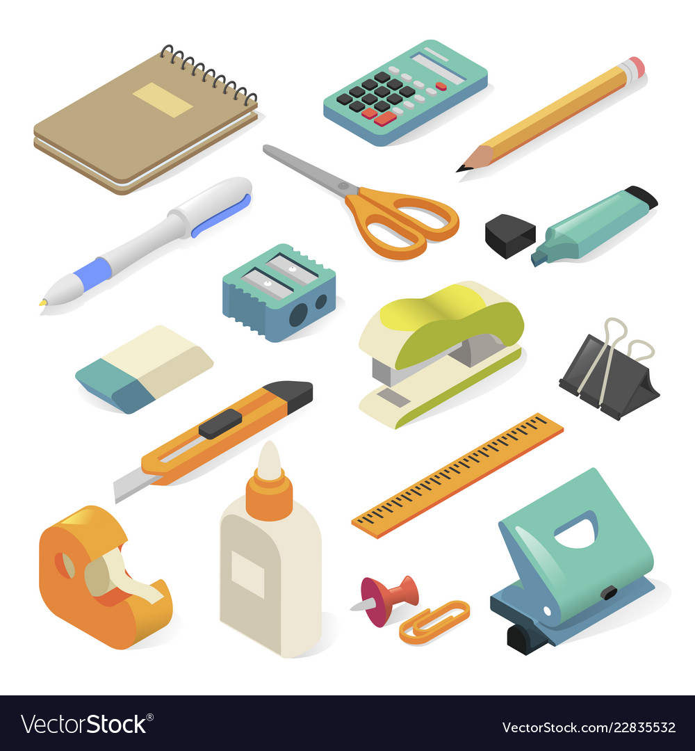 Office tools and business stationery for workplace