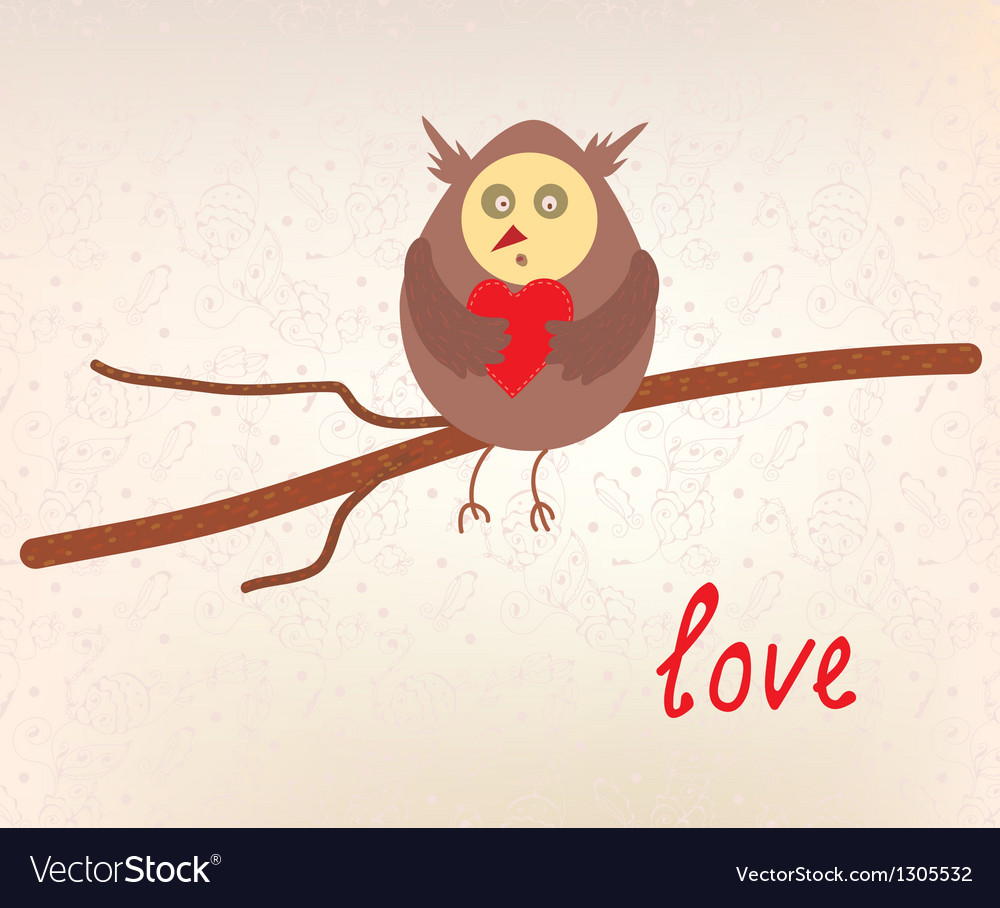 Owl Love Valentine Card Royalty Free Vector Image