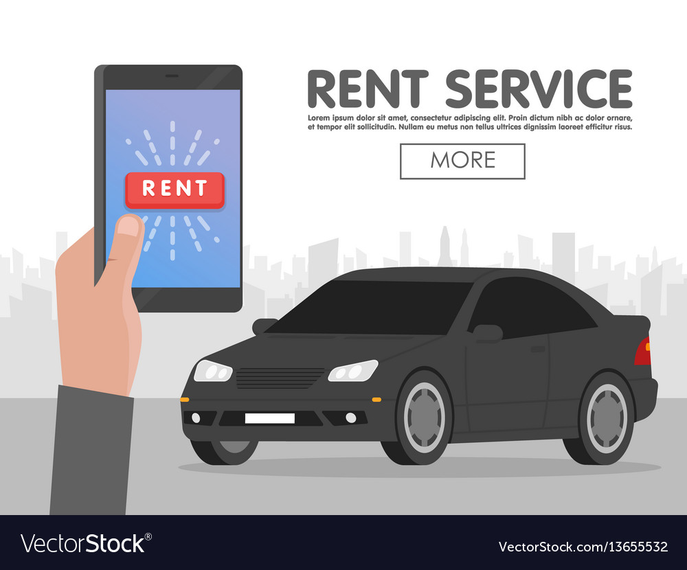 Rent car service online phone booking concept vector image