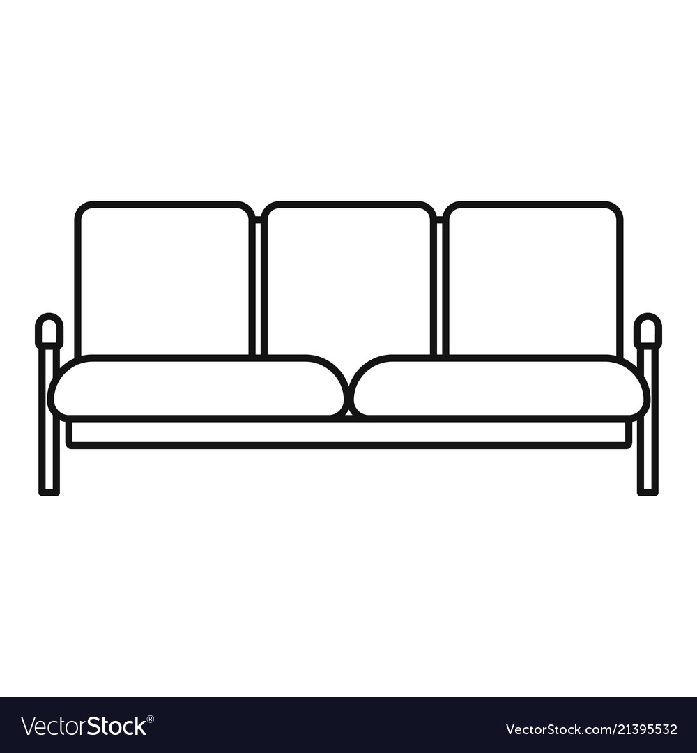 Retro Sofa Icon Outline Style Royalty Free Vector Image
