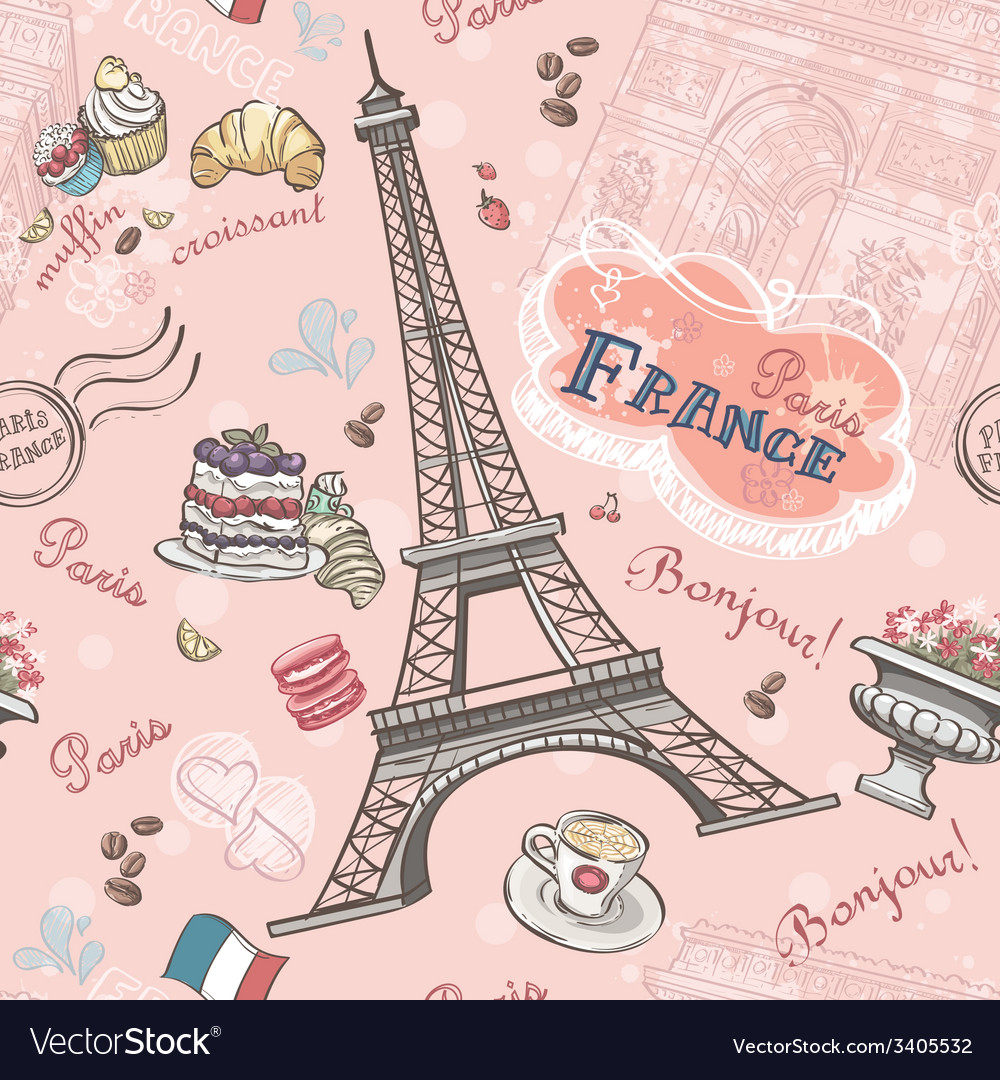 Seamless pattern on Paris from the romantic