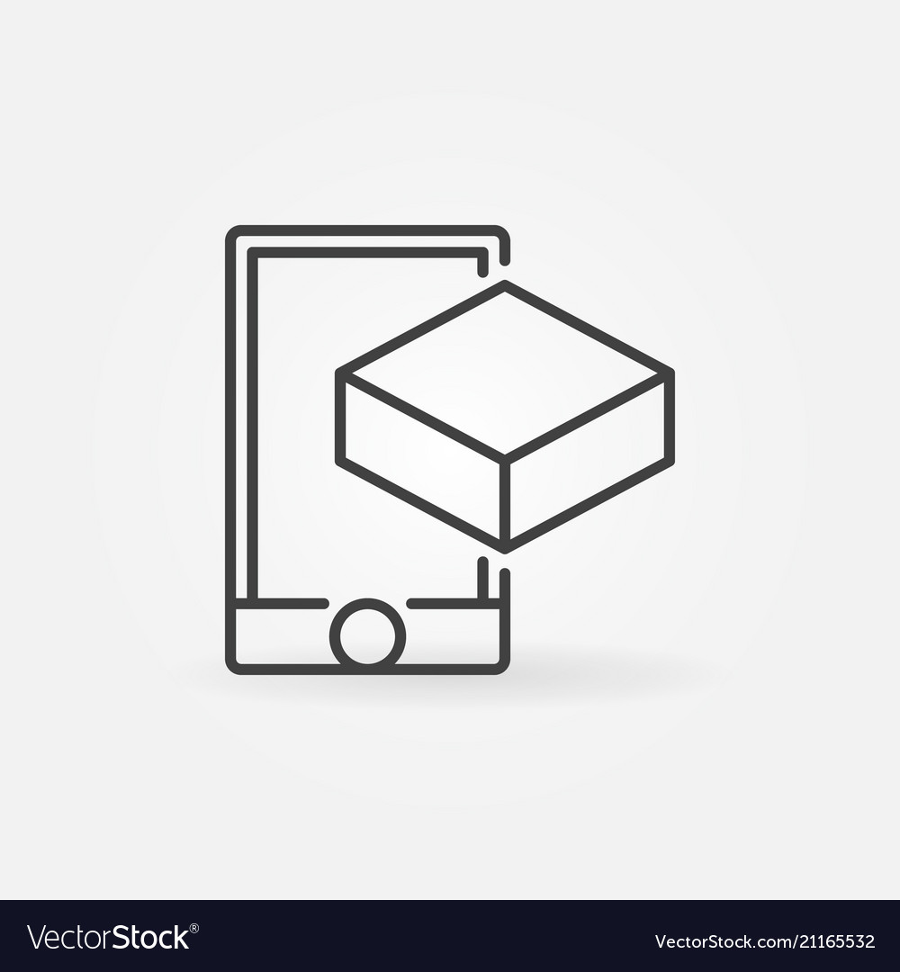 Smartphone with cube linear icon ar symbol
