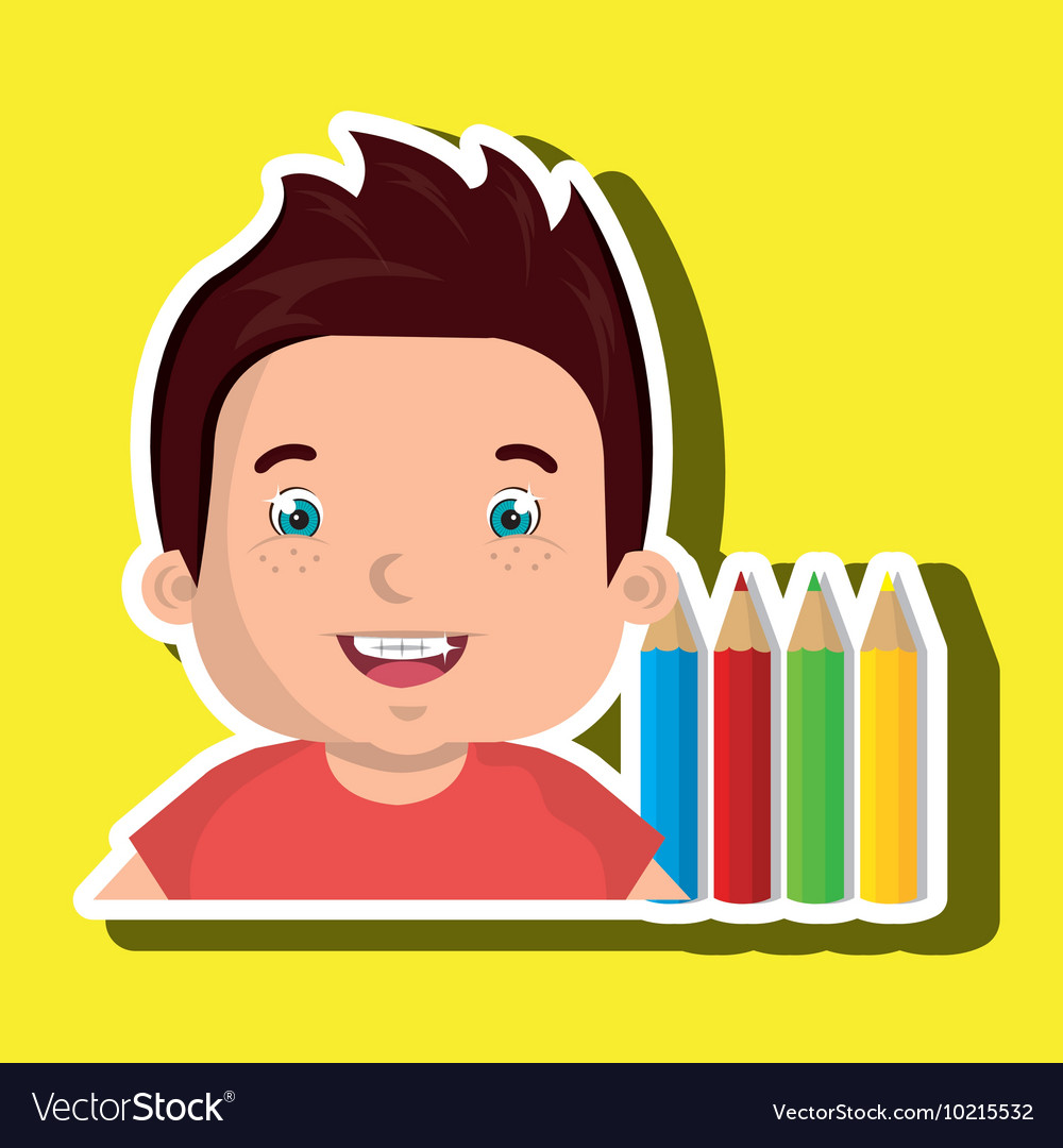 Student colors notepad brushes vector image