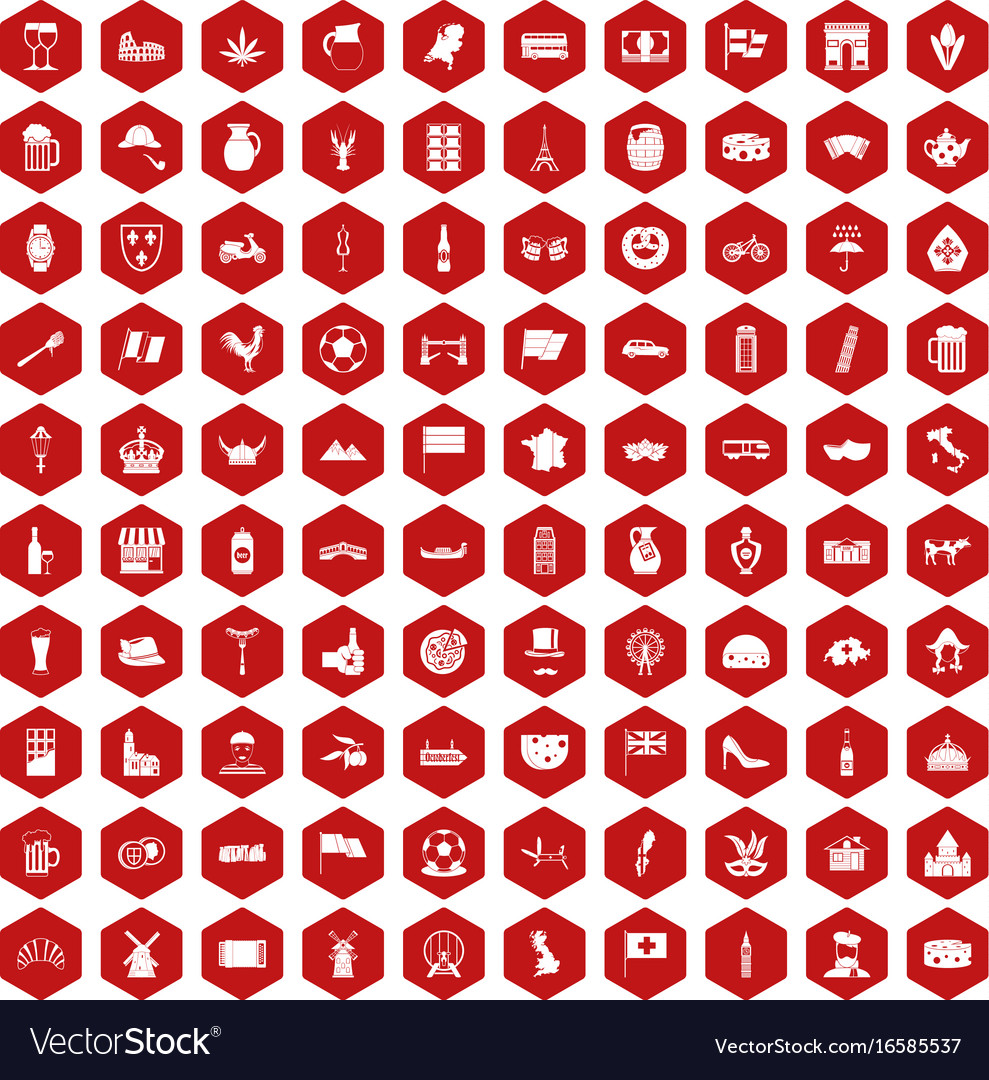 100 europe countries icons hexagon red