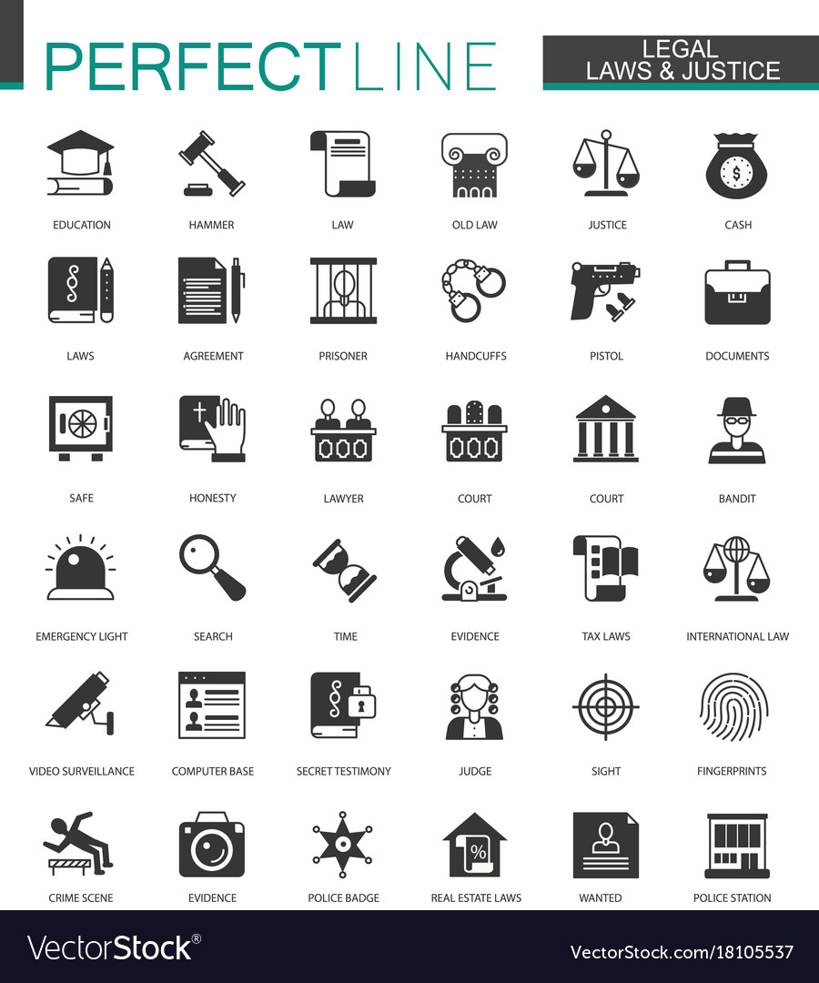 Black classic legal law and justice icons set vector image
