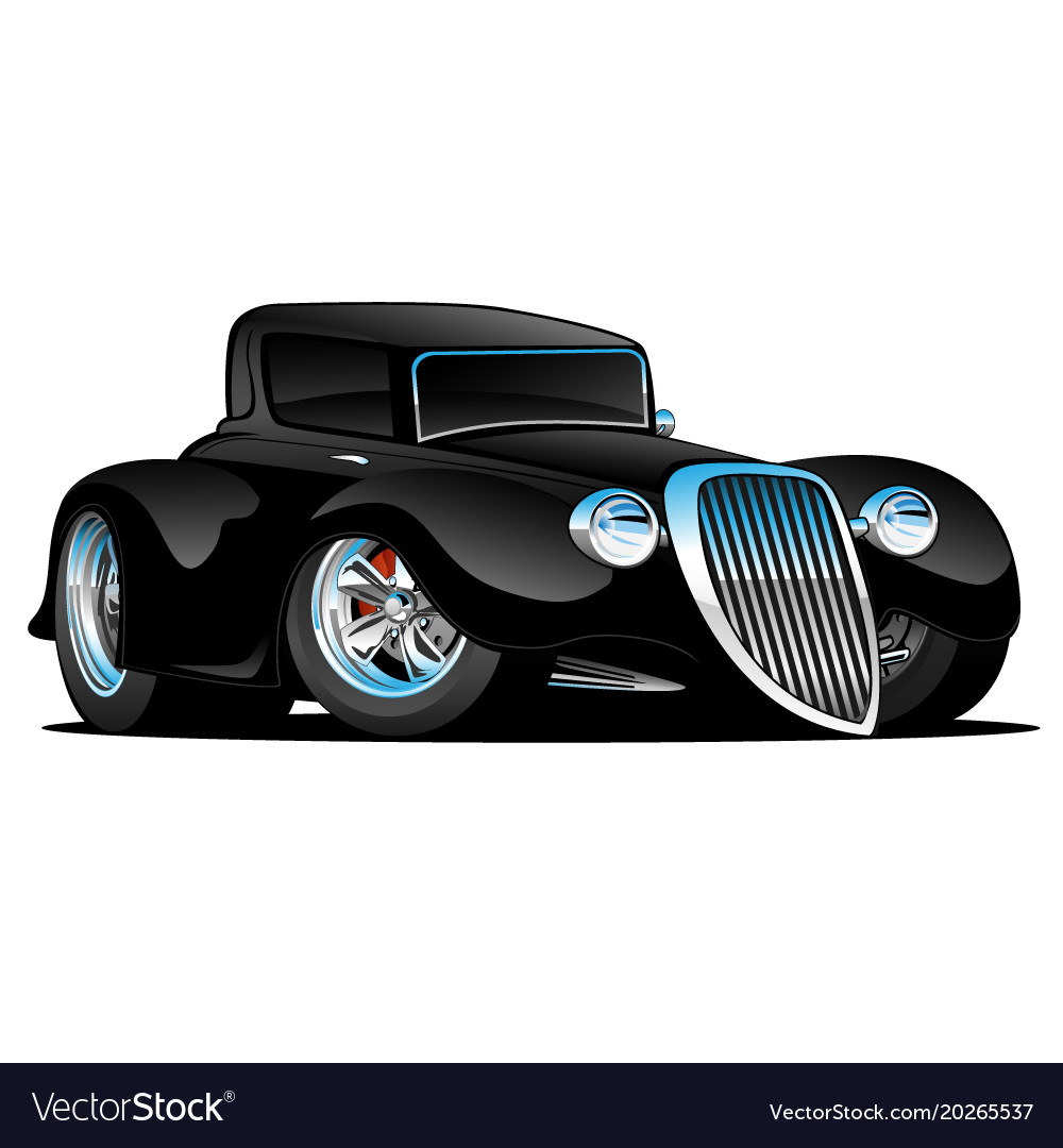 Black hot rod classic coupe cartoon Royalty Free Vector