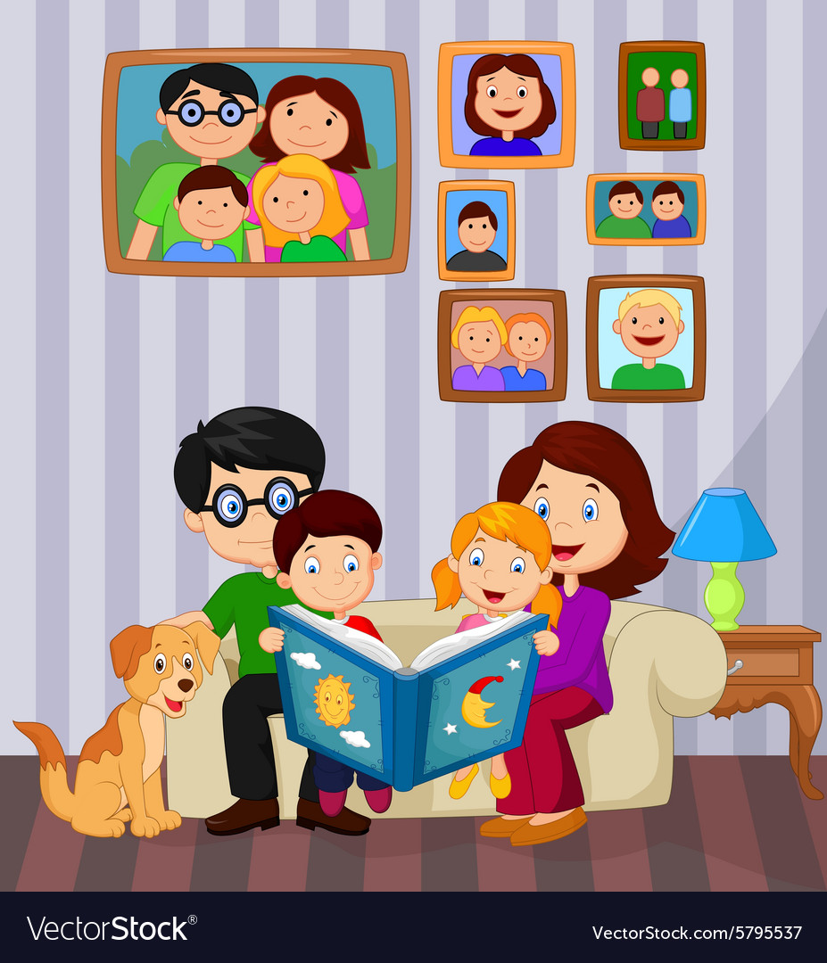 Livingroom Cartoon | Cartoon Read A Story Book In The Living Room Vector Image