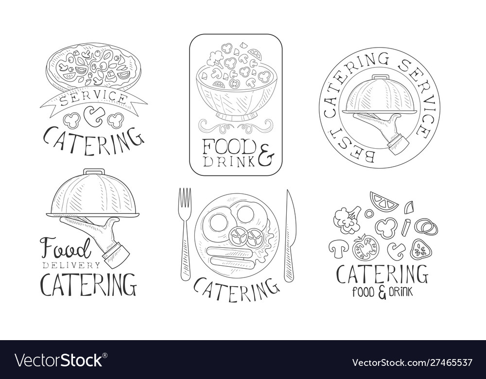 Catering food and drink service hand drawn retro
