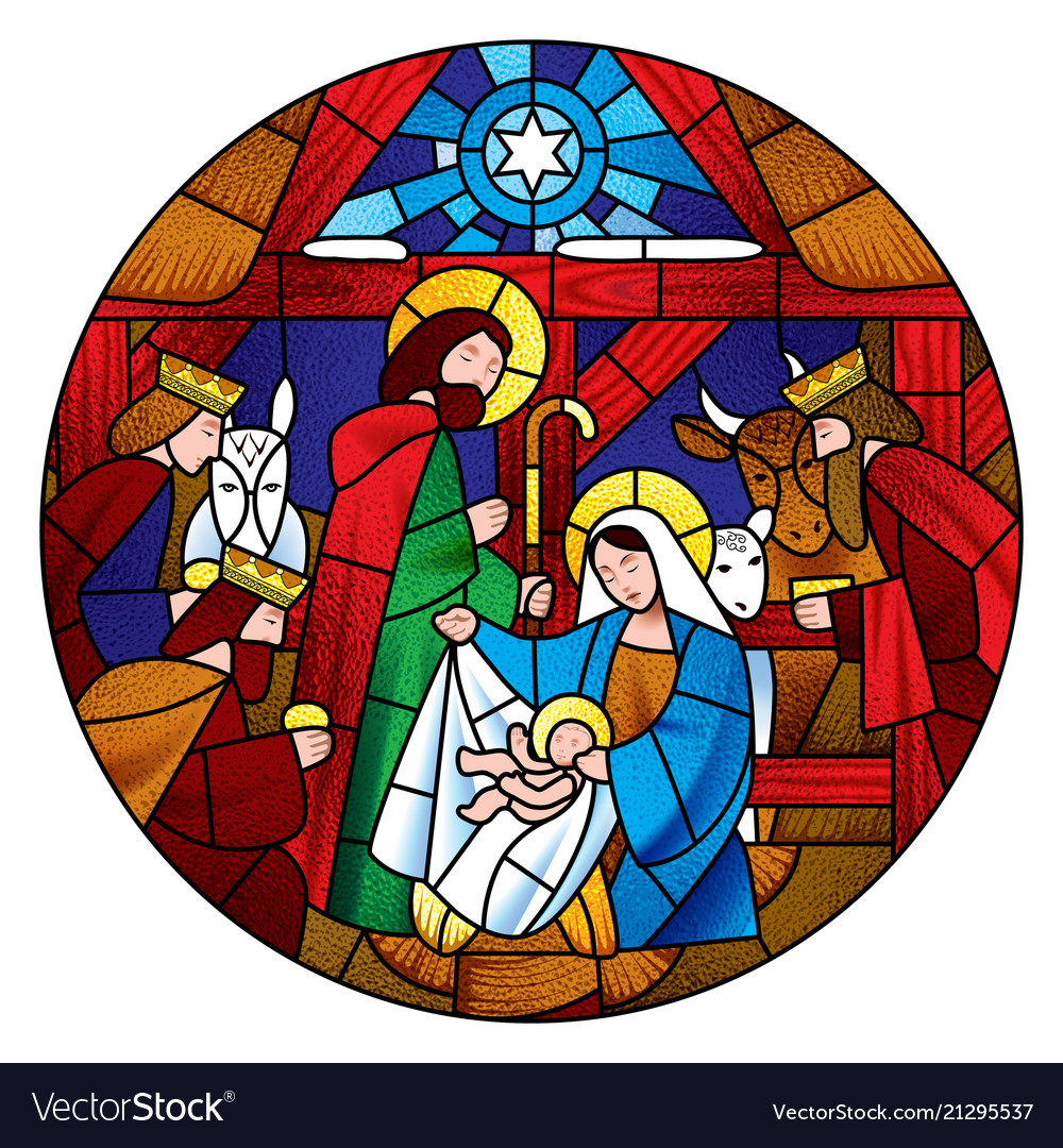 Circle shape with the christmas and adoration of