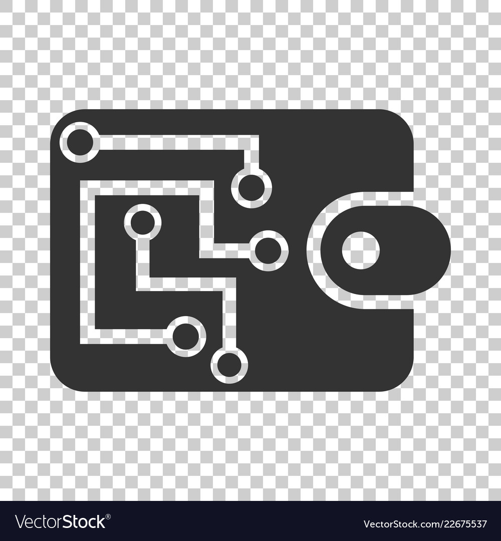 Digital wallet icon in flat style crypto bag on
